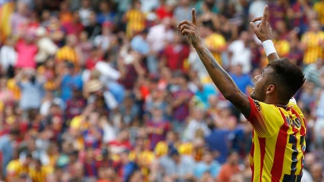 Neymar jubelt über sein Tor gegen Bilbao.