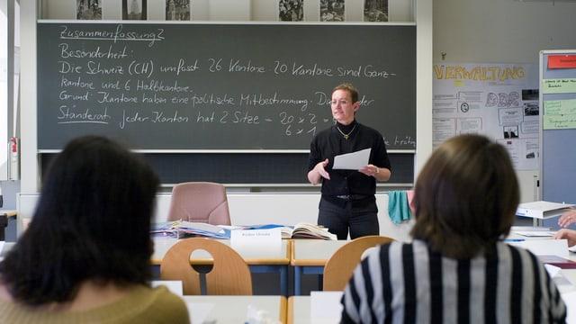 Lehrerin vor Wandtafel, auf dem etwas steht über den Schweizer Bundesstaat.