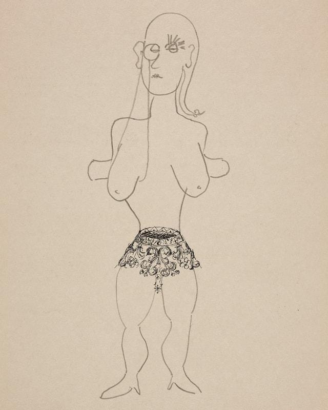 Auf einem Papier ist eine Krone abgedruckt, die auf dem Kopf steht. Um sie herum ist eine nackte Frauenfigur mit grossen Brüsten gezeichnet, die Krone bildet ihre Unterhose.