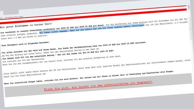 Mail mit Jobangebot