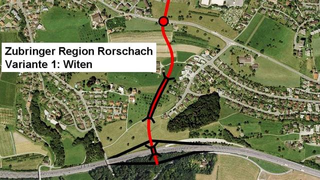 Projektplan: Flugaufnahme Rorschach mit geplanter neuer Strassenführung