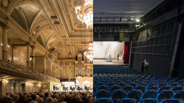 Links der Konzertsaal der Tonhalle, recht die Maag Halle.