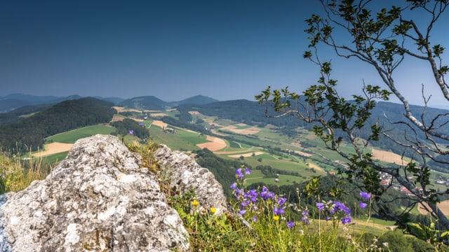Blick von der Gisliflue über die Höhenzüge des Juras.
