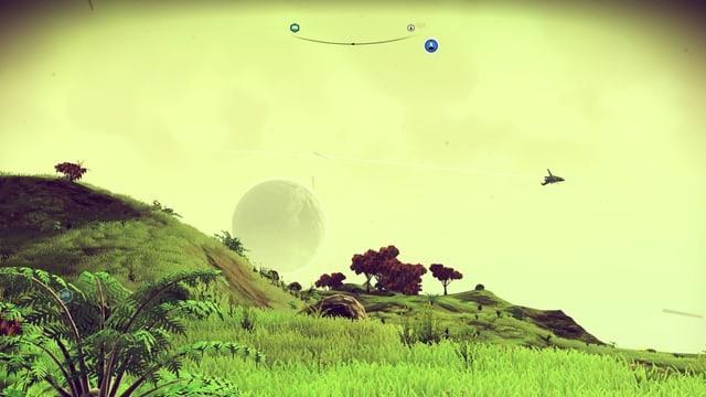 Eine grüne Savanne vor gelbem Himmel. Dahinter geht ein Planet auf und ein Raumgleiter fliegt vorbei.