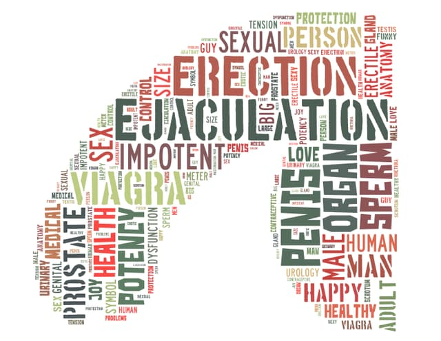 Wortcollage in Penisform
