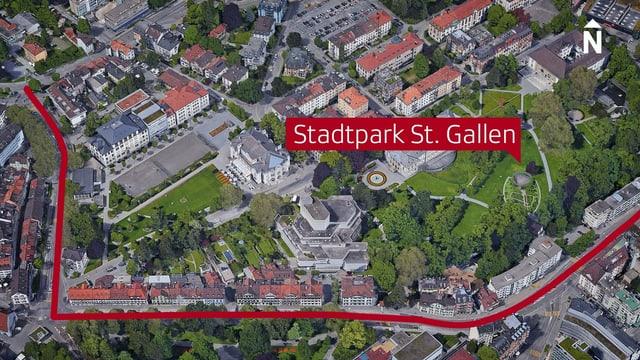 Luftbild vom Stadtpark St. Gallen. Die Rorschacherstrasse im Süden rot eingefärbt