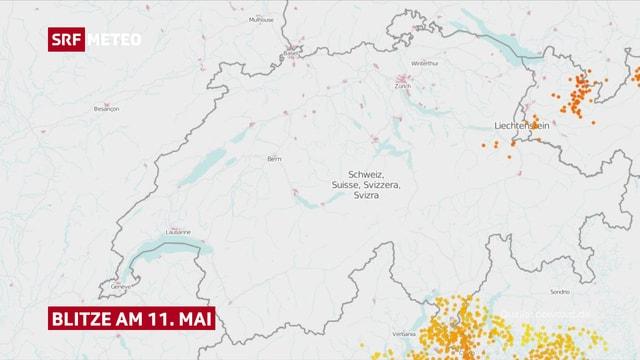 Karte mit eingezeichneten Blitzen vom 11. Mai 2018.