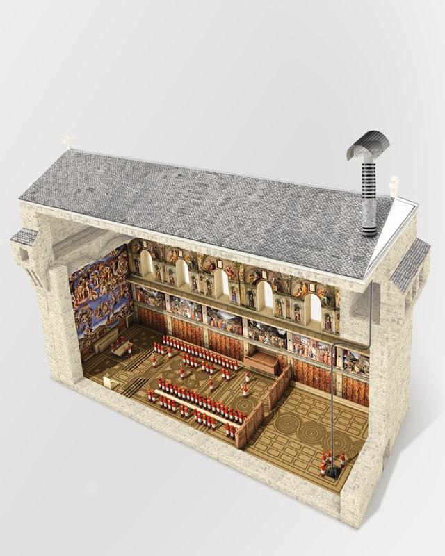 Computergrafik der Sixtinischen Kapelle.