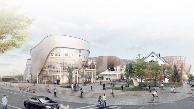 grosses Einkauszentrum mit gewellter verglaster Fassade.