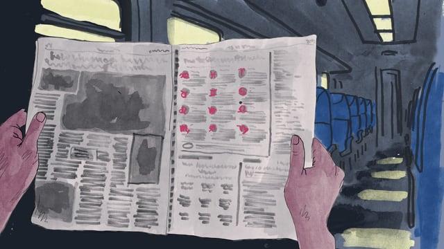 Illustration zweier Hände in einem Zugabteil, die eine aufgeschlagene Zeitung mit Horoskopen drin halten.