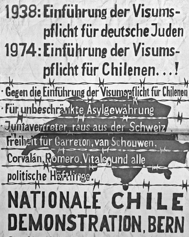 """Zeitdokument: Ausschnitt Plakat, das zur """"Nationale Chile Demontration, Bern"""" aufruft."""