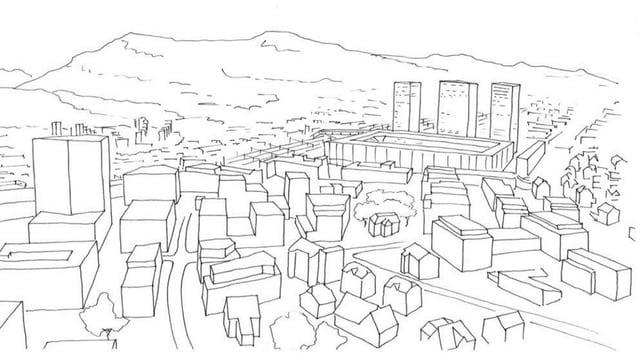 Zeichnung Quartier Torfeld Süd mit Stadion und Hochhäusern