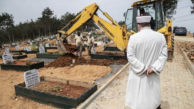 Friedhof mit Imam und Bagger, der ein Grab aushebt.
