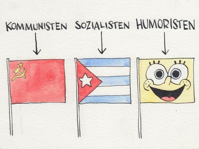 Allerlei Flaggen am Gampel.