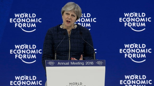 Theresa May durant ses pled al WEF 2018.