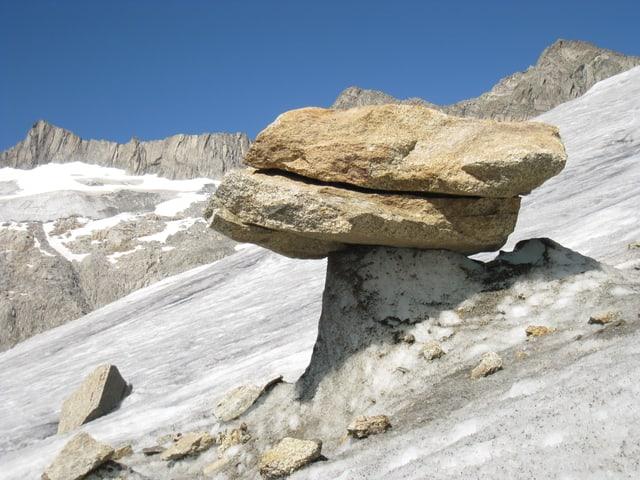 Eine Steinplatte liegt auf einem Sockel aus Eis. Ein sogenannter Gletschertisch.