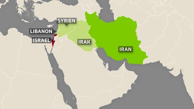 Karte mit Iran, Irak, Syrien, Libanon und Israel.