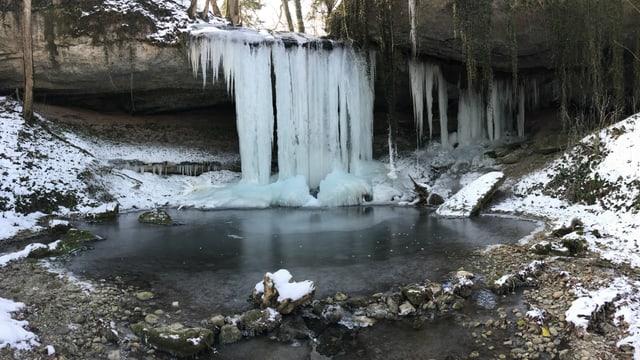 Eiszapfen hängen in Hombrechtikon über einen kleinen Wasserfall.