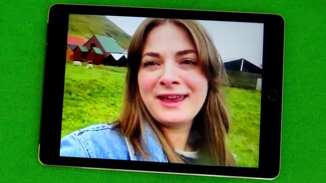 Eine Faröerin auf einem Bildschirm.