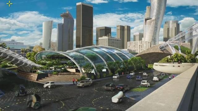 Visualisierung Stadt mit automatisiertem Vekehr