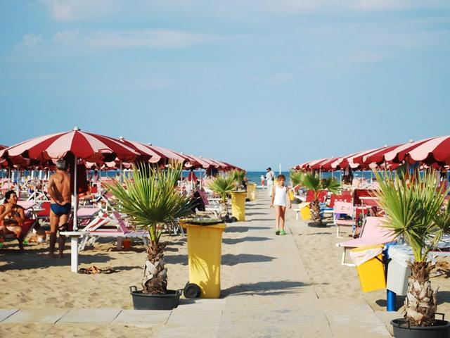 Symmetrisch aneinandergereihte Sonnenschirme am Strand von Rimini.