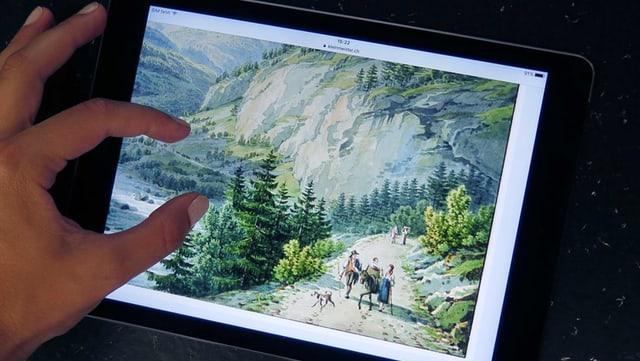 Ein Gemälde eines Kleinmeisters auf einem Tablet.