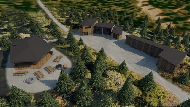 Viasualisaziun dal project nov lavuratori forestal a Laax.