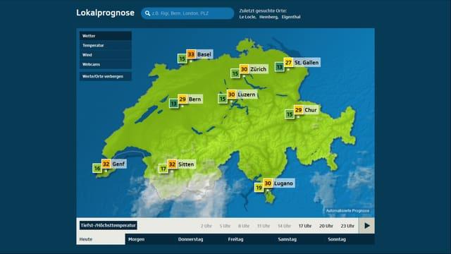 Screenshot der Übersichtsseite von srf.ch/meteo