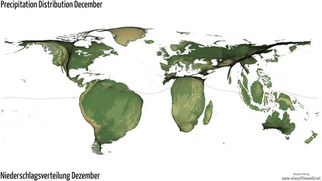 Eine bewegliche Karte zeigt die Mittelwerte der Niederschlagsmengen von 1950 bis 2000 durch die Grösse der jeweiligen Regionen