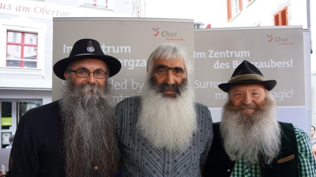 Las pli bellas barbas alpinas: il victur Kurt Rohner entamez, sanester e dretg Willi Preuss e Hans Gassner.