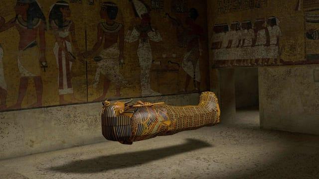 Ein Sarkopharg schwebt in einem Raum mit ägyptischen Wandmalereien.