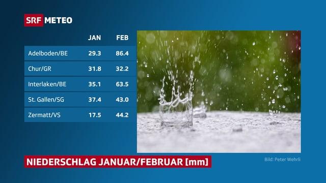 Niederschlagssummen Januar und 1-5. Februar 2020