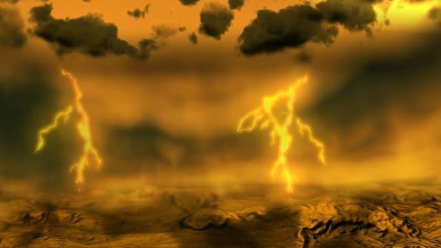 Zeichnung: Wolken, Blitze, verdorrte Erde