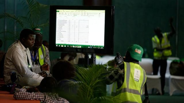 Wahlhelfer befinden sich in einem Gebäude. Auf einem grossen Bildschirm werden die Wahlergebnisse aktualisiert.