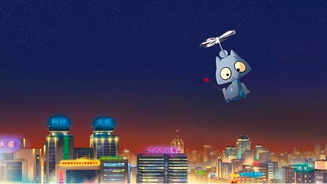 Roboterkatze fliegt über eine chinesische Stadt