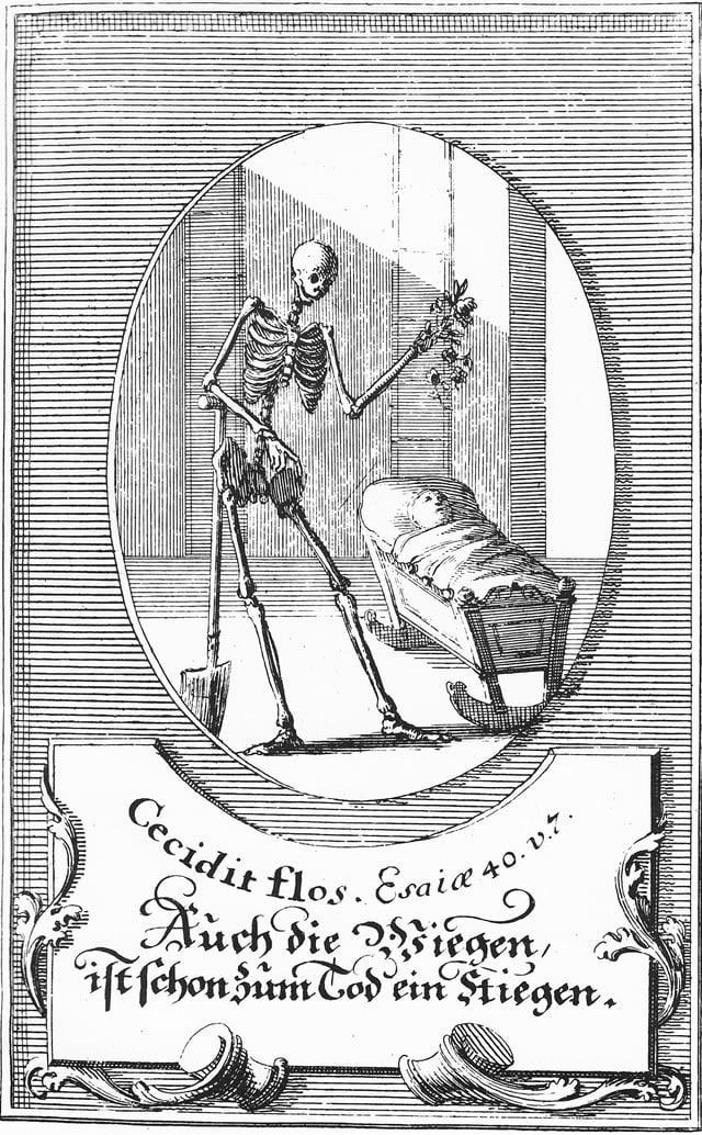 Eine schwarz-weisse Zeichnung zeigt ein Skelett, das sich auf eine Schaufel stützt und an einer Wiege steht, in dem ein kleines Kind liegt.