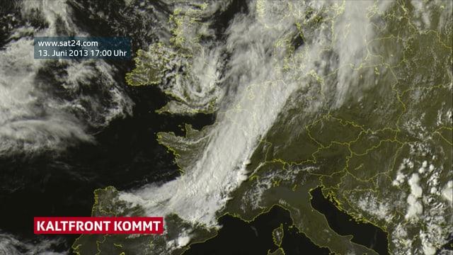 Ein Satellitenbild ist zu sehen. Der Himmel über der Schweiz ist klar. Über Frankreich ist ein geschlossenes Wolkenbild zu sehen.