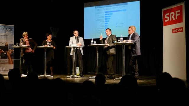 Die eine Dame und die vier Herren stehen in einer Linie auf der Bühne der Kulturfabrik Kofmehl, rechts im Bild das SRF-Banner, links im Bild dasjenige der Solothurner Zeitung.