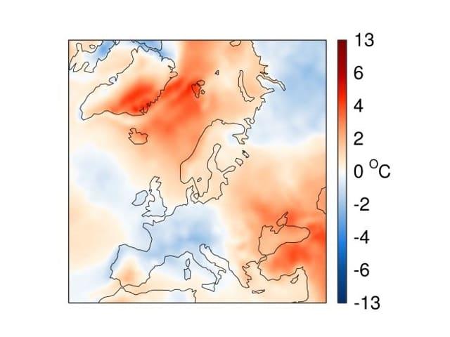 Europakarte, blau und rot eingefärbt. Mitteleuropa bläulich, Skandinavien, Schwarzes Meer rot.