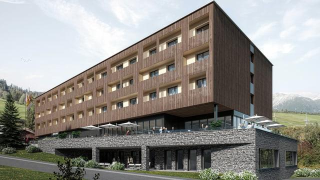 Visualisaziun dal hotel Grava, che vegn construì dasperas il flum Schletg da manaivel da la staziun da val da las pendicularas da Savognin.