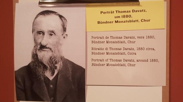 Purtret da Thomas Davatz. In um pli vegl cun chavels grischs ed ina barba lunga.