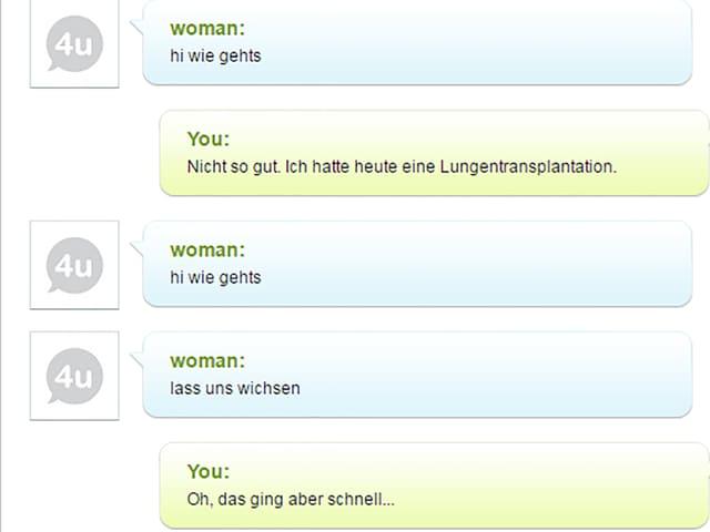 Screenshot eines absurden Flirt-Chats.