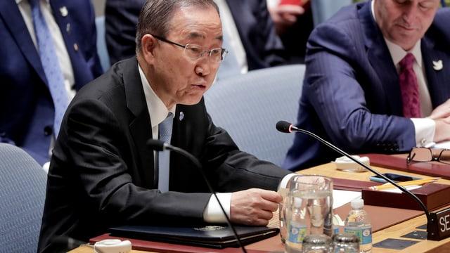 Ban Ki Moon spricht an einer Sitzung des UNO-Sicherheitsrates