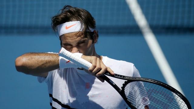 Roger Federer beim Training.