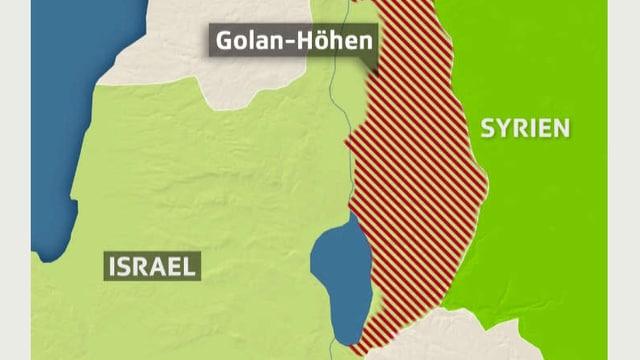 Karte der Golanhöhen zwischen Israel und Syrien.