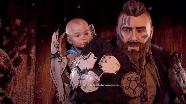 Unser Patenonkel Rust mit Kriegsbemalung im Gesicht und Baby auf dem Rücken.