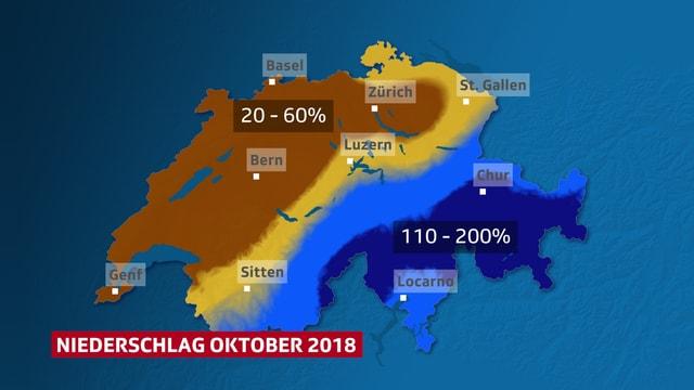 Schweizer Karte, die die Unterschiedliche Verteilung des Niederschlags im Oktober zeigt.