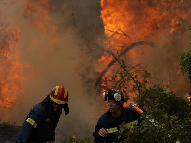 Due vigili del fuoco stanno vicino al fuoco con il tubo.