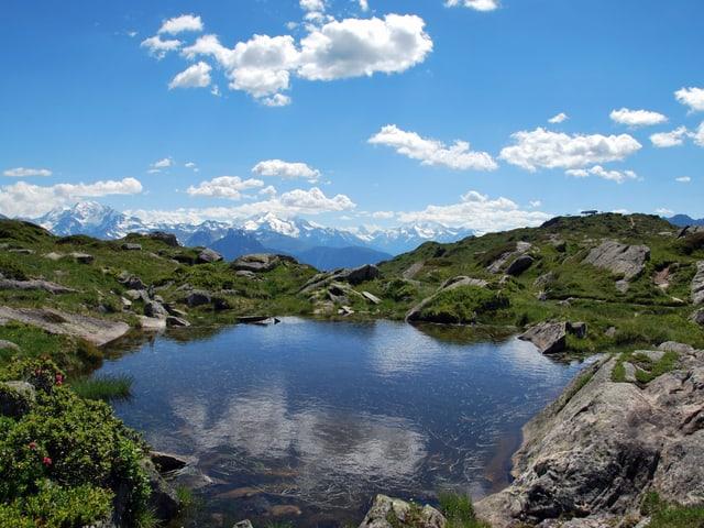 Bergsee vor Bergpanorama