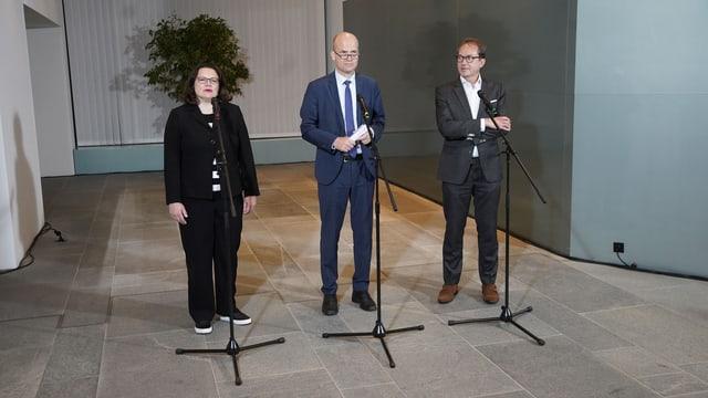 Andreas Nahles, Ralph Brinkhaus und Alexander Dobrindt treten vor die Medien